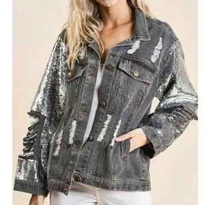 DISTRESSED GREY DENIM JACKET WITH SEQUIN SLEEVES SIZE L